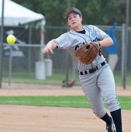 Allison Greaney '11 pitches for the women Bombers