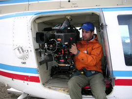 Alumnus Jason Longo films via helicopter for one of his documentary.