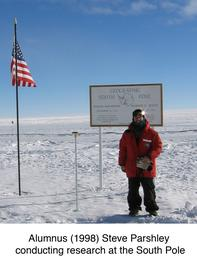 Alumnus Steve Parshley conducting research at the south pole