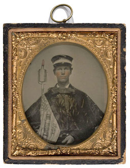 "Ambrotype of ""Wide Awake"" Marcher (1860) [http://www.cowanauctions.com]"
