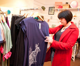 Amelia Blevins '12 browses at Petrune, her favorite store in Ithaca.