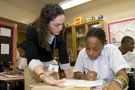 An Ithaca graduate student working at the Frederick Douglass Academy in New York City.