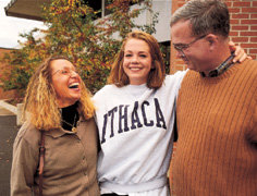 An Ithaca student and her parents on campus.