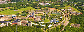 An aerial view of the Ithaca College campus