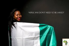 "An image from the IC African Student Association's ""The Real Africa: Fight the Stereotype"" campaign. A young woman draped in a flag. Caption reads: ""A"