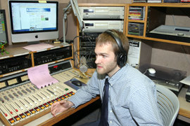 Andrew Bernier in the WICB studio.  Photo by George Sapio