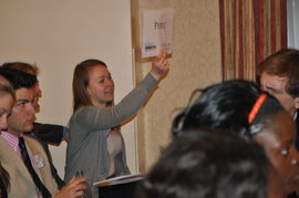 Anna Isachenko (Int'l Business, '14) casts Peru's vote at the Harvard MUN conference, February, 2014.
