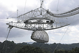 Arecibo Observatory radio telescope, which launched the first intragalactic message.