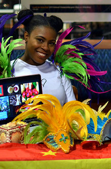 Aria Collins '18, the international club's event manager, represents Grenada. Photo by Mariah Boucher '17