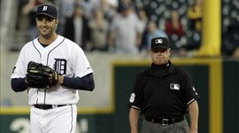 Armando Galarraga smiles at an unlikely moment
