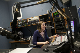 Author Nicole Ogrysko '13 on the air in WICB's updated studios.