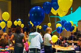 "Balloons were everywhere at the Active Minds ""Stomp Out the Stigma"" spring rally."
