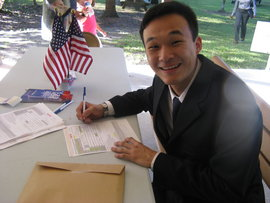 Becoming a U.S. citizen and registering to vote.