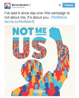 Bernie Sanders Tweet with Poster by Aled Lewis (2016)