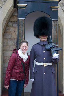 Bethany with one of London's iconic guards.