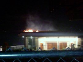 Blaze on the green roof of the Park Center