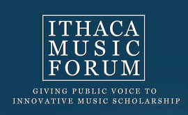 Blue and white Music Forum logo
