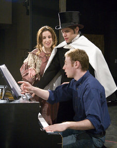 Brett Boles �07,  Jeremy Jordan �07 and Marisa Dargahi �07 rehearse a scene from �The Count of Monte Cristo�