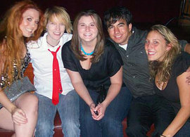 Brian Saa '08 with friends at The Ellen DeGeneres Show.