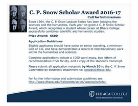 C. P. Snow Scholar Award Information and Application Guidelines