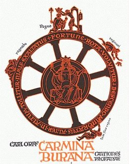 Camina Burana score cover featuring the Wheel of Fortuna