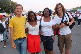 Candace King, '15 with Cuban mom, Modesta, and friends