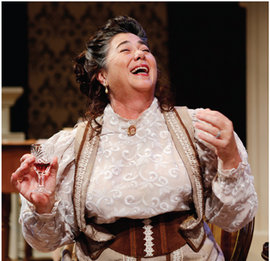 "Carrie Lund Cacioppo '79 onstage in ""The Little Foxes."" Photo courtesy of Nick Adams Photography"