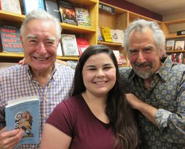 Cayuga Lake Books intern MaryBeth Cooper with editors Jack Hopper & Peter Fortunato, at fall 2016 book launch
