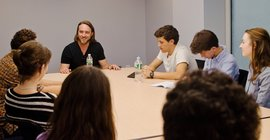 Chad Hurley, Co-founder of YouTube and Avos, meets with students.