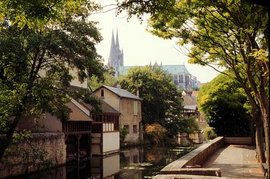 Chartres Cathedral, viewed from the banks of the river Eure
