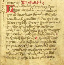 Chaucer's Treatise on the Astrolabe, St. John's College Cambridge MS E2 fol. 2r