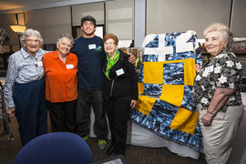 Chris Friedlander and the Longview Quilting Group Members