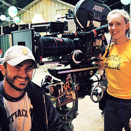 "Chris Salamone �01 and Victoria Tidmarch '04 on the set of ""True Blood."" Photo courtesy of Victoria Tidmarch"