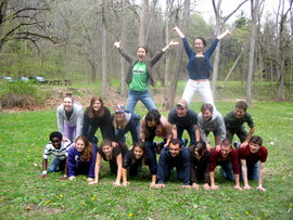 Clarinet student pyramid, best yet! Buttermilk Falls spring picnic, 2009