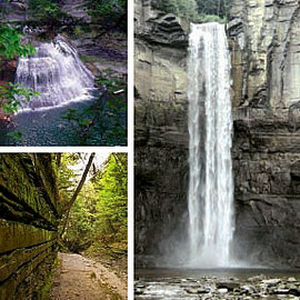 Clockwise, left to right: Robert H.Treman State Park, Taughannock Falls State Park, Buttermilk Falls State Park