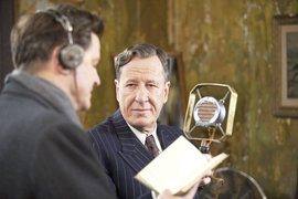 Colin Firth and Geoffrey Rush in a scene from The King's Speech