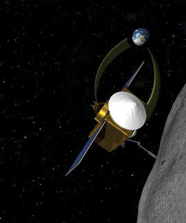 Conceptual image of OSIRIS-REx. Image courtesy of NASA/GSFC, University of Arizona.