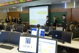 Core Trading Consultants make their pitch in the trading room.
