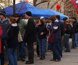 Crowds line up to sample chili. Photo by Nick Deel '09