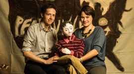 Dan Jones '12 and Chava Curland '11 with puppet