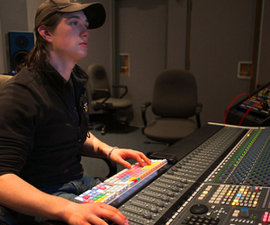Dan Timmons '10 works in the sound recording technology lab on campus. Photo by Mike Grippi '10.