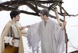 Daniel Bates '11 plays Orfeo and Nathan McNeill Murphy '12 plays Caronte in 'L'Orfeo,' photo  by Sheryl Sinkow