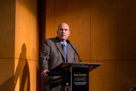 David Simon accepts the inaugural Serling Award.