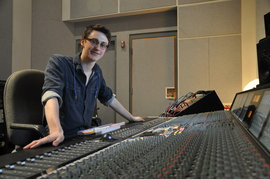 Dewey, working in Ithaca College's Borg-Warner Recording Suite