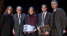 Dianne Lynch, Jeremy Stone, Amy Goodman, Glenn Greenwald, and Jeff Cohen; photo by Even Falk '09
