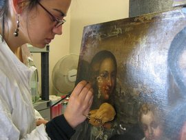 Dina Anchin '06 studying art restoration in Rome.