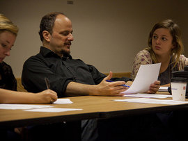 Distinguished Visiting Writer Jeffrey Eugenides leads a writing master class.