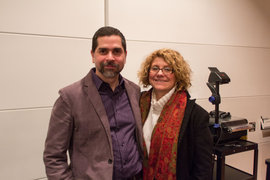 Dr. Zimmermann stands with new media scholar Ulises Mejias before his lecture. Photo by Shawn Steiner