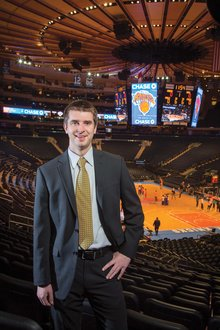 Drew Steedman '13 at Madison Square Garden arena.