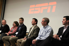 ESPN Alumni discussion panel (L to R): Gene Caputo '79, Julie Mariash '83, Dave Miller '80, Karl Ravech '87, Mark Gross '88, and Kevin Connors '97.